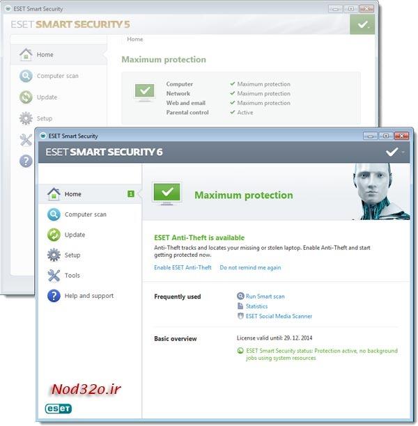 نمایی ظاهری نسخه 6 ESET Smart Security